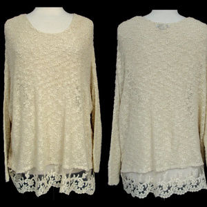 Olivia Sky Slouchy Lace Border Nubby Sweater Top L